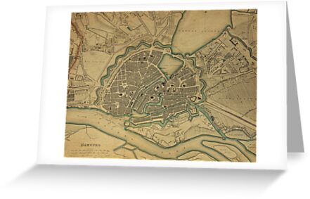 19th Century Topographical Vintage Antique Map Hamburg Germany by Photo Print Vintage