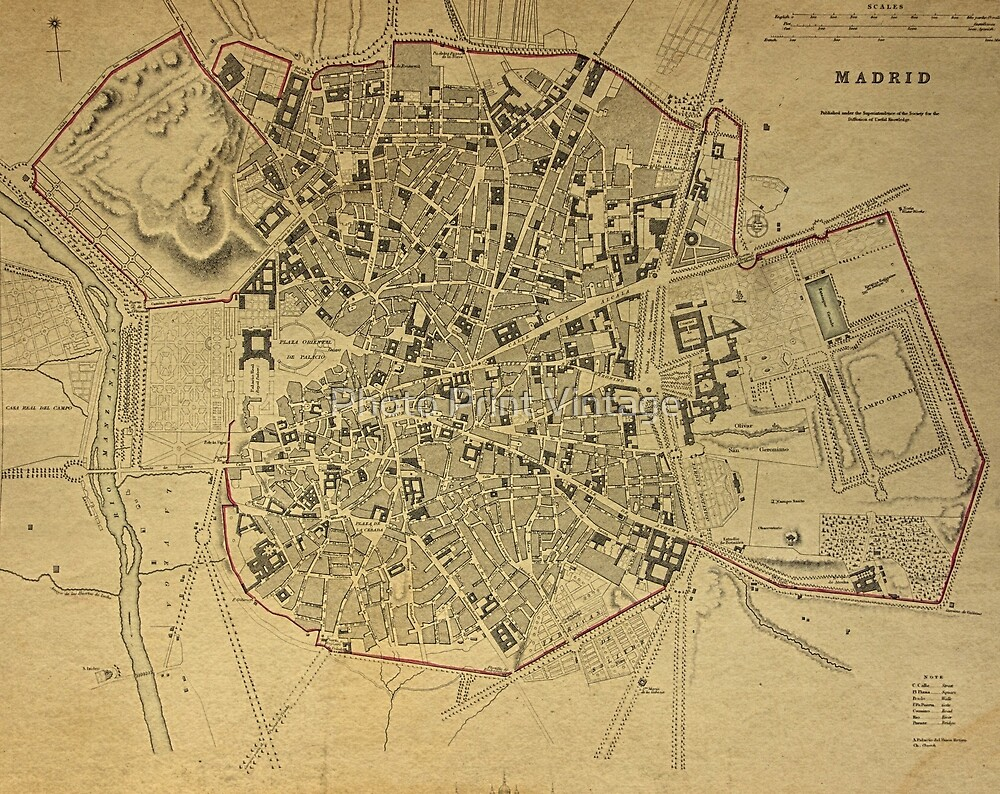 19th Century Topographical Vintage Antique Map Madrid Spain\