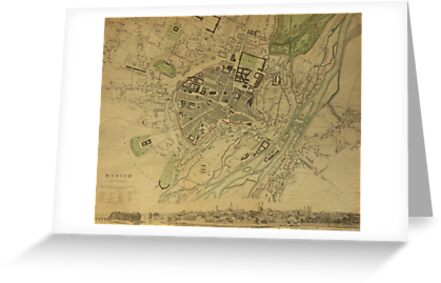 19th Century Topographical Vintage Antique Map Munich Germany by Photo Print Vintage