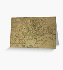 19th Century Topographical Vintage Antique Map Warsaw Poland Greeting Card
