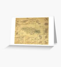 19th Century Topographical Vintage Antique Map West Indies Greeting Card