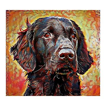 Flat Coated Retriever - A Portrait in Oil by Chunga