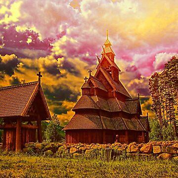 Gol stave church, Norway by vadim19
