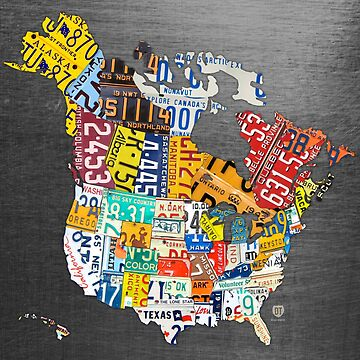 License Plate Map of North America on Steel Background by designturnpike