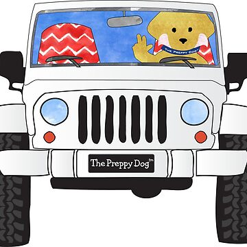 Preppy Yellow Lab Puppy Jeep Wave - Silver Jeep by emrdesigns