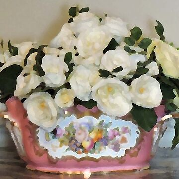 Cream Flowers In Antique Bowl (Palette Knife Style) by CreativeEm