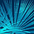 Tropical Blue Fan Palm Leaves Abstract Design by oursunnycdays