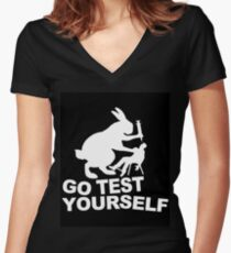 Go Test Yourself Women's Fitted V-Neck T-Shirt