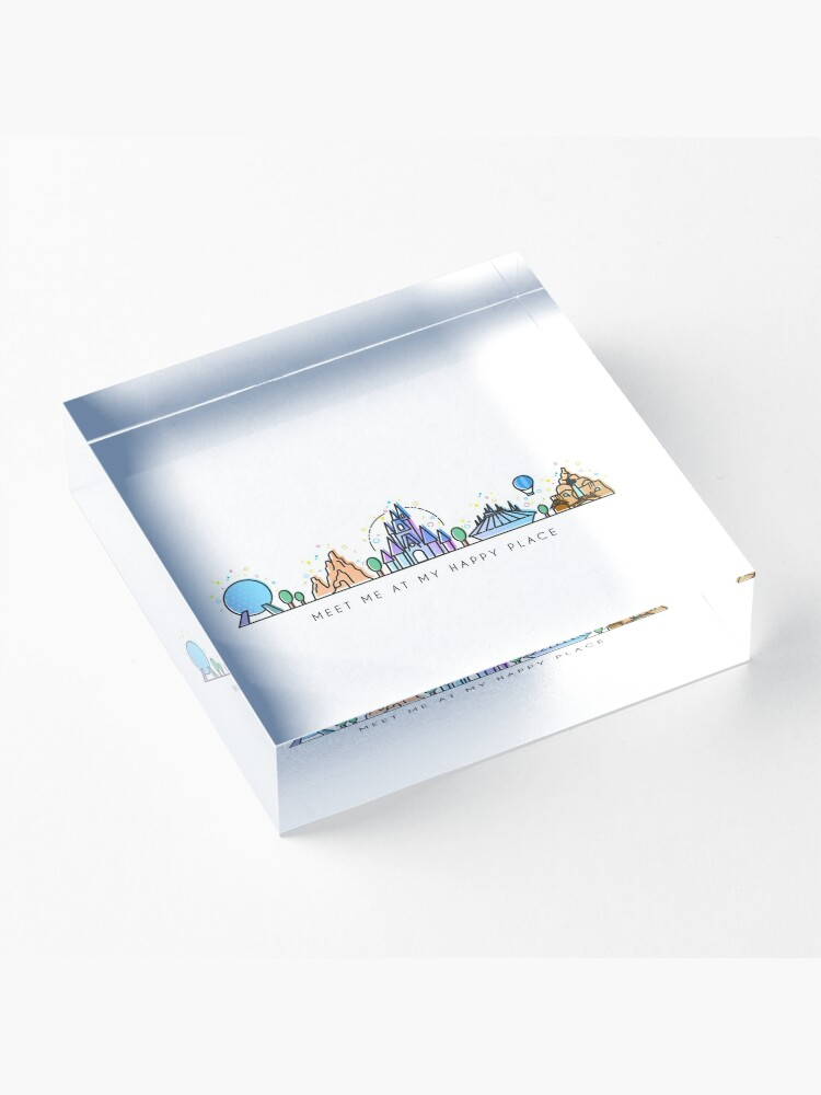 Alternate view of Meet me at my Happy Place Vector Orlando Theme Park Illustration Design Acrylic Block