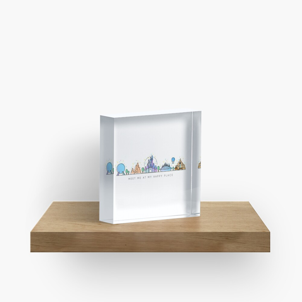 Meet me at my Happy Place Vector Orlando Theme Park Illustration Design Acrylic Block