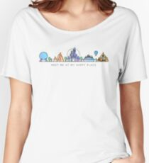Meet me at my Happy Place Vector Orlando Theme Park Illustration Design Women's Relaxed Fit T-Shirt