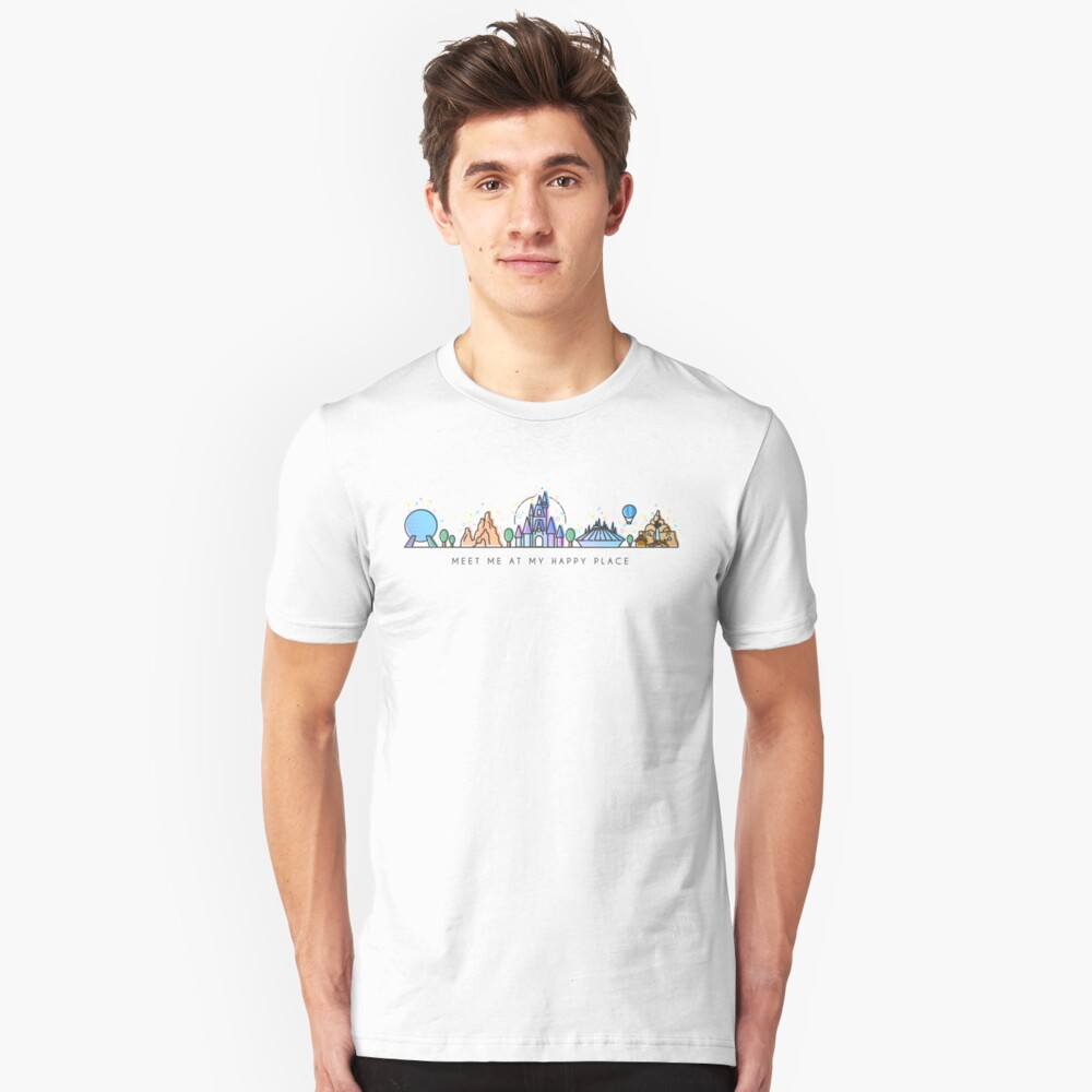 Meet me at my Happy Place Vector Orlando Theme Park Illustration Design Unisex T-Shirt Front