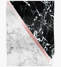Rose Gold Metallic and Marble Poster