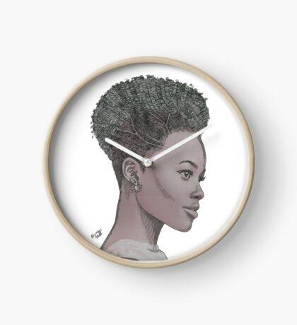 Lupita ink drawing Afro princess Clock