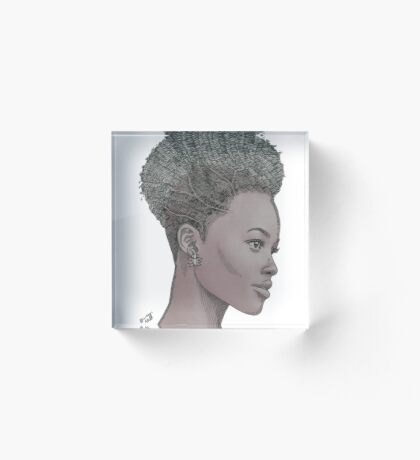 Lupita ink drawing Afro princess Acrylic Block
