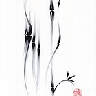 Relax - Sumie Ink Brush Bamboo Painting by Rebecca Rees