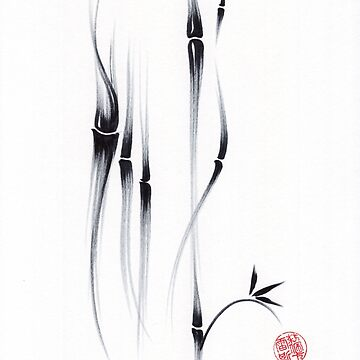 Relax - Sumie Ink Brush Bamboo Painting by tranquilwaters
