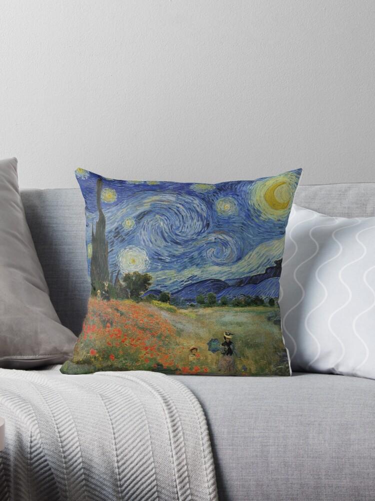 Claude Monet Poppy Fields Vincent Van Gogh Starry Night | Collage 2.0 by Bohemian Bear by BohoBear