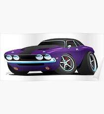 Classic Muscle Car Cartoon Poster