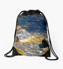 The Natural Beauty of Gold and Blue Drawstring Bag
