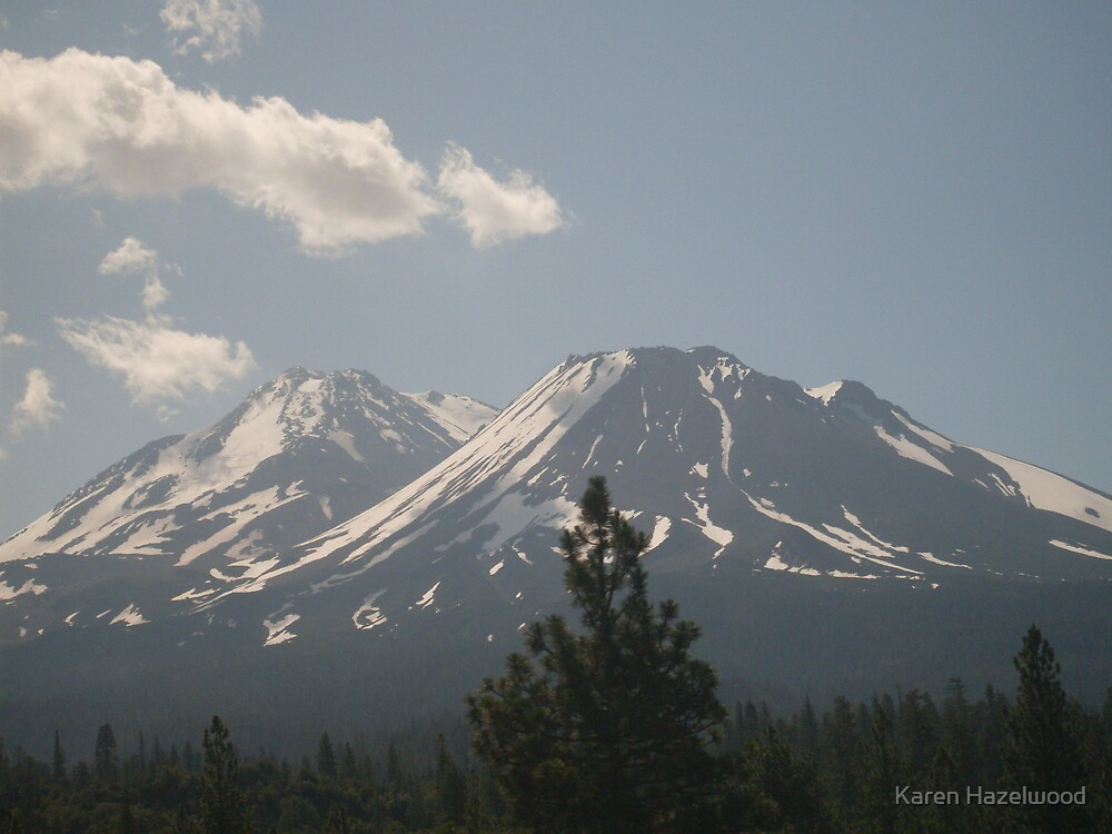 Mt. Shasta from the Starlight Express by Karen Hazelwood