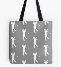 Grey Golfer Silhouette Tote Bag