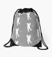 Grey Golfer Silhouette Drawstring Bag