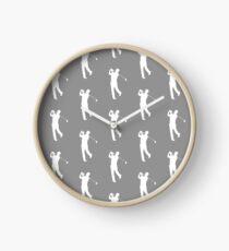 Grey Golfer Silhouette Clock