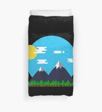 Flat Design Outdoor Mountain Forest Park Sun - gift idea Duvet Cover