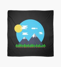 Flat Design Outdoor Mountain Forest Park Sun - gift idea Scarf