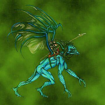 Blue Goblin, Tiny Warrior by surreal-esbee