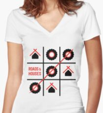 Roads and Houses Game - a road trip always wins (RED) Women's Fitted V-Neck T-Shirt
