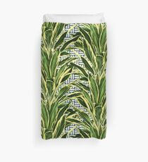 Palms on Stitch Pattern - Blue White Gold Duvet Cover