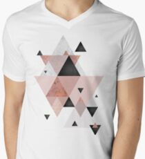 Geometric Compilation in Rose Gold and Blush Pink Men's V-Neck T-Shirt