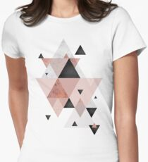 Geometric Compilation in Rose Gold and Blush Pink Women's Fitted T-Shirt
