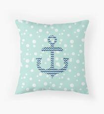 Chevron Nautical Anchor Bubbles Pattern Throw Pillow