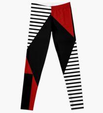 Red & Black Geometric Abstraction Leggings