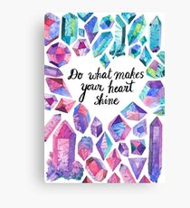 Inspiring quote with colourful crystals Canvas Print
