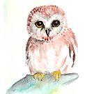 Saw Whet Owl Watercolor by RavensLanding