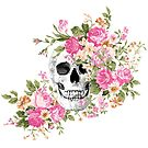 Pink Floral Skull by Donna M Condida