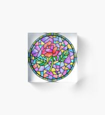 Stained glass rose Acrylic Block