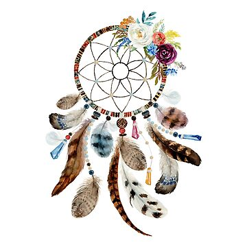 Colorful flowers and feathers tribal dream catcher by artonwear