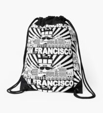 San Francisco California City Skyline with Trolley and Golden Gate Bridge on Sun Rays backgound Illustration Drawstring Bag