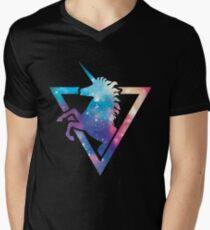 Galaxy Unicorn  T-Shirt mit V-Ausschnitt