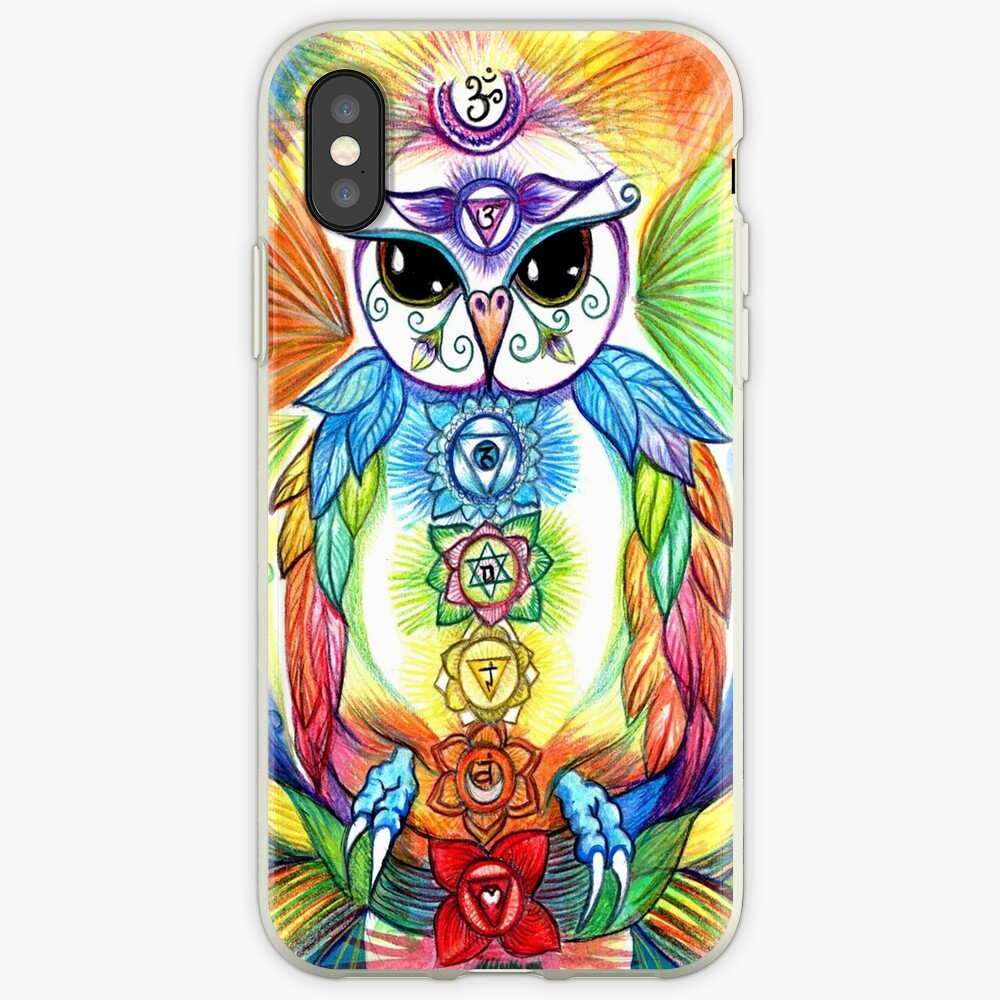 Chakra Owl-Yoga Owl by Sheridon Rayment iPhone Case & Cover