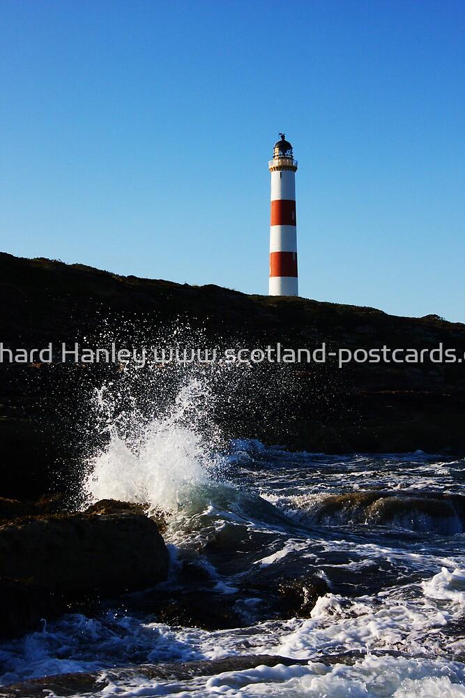 Tarbat Ness Lighthouse Wave Crash by Richard Hanley www.scotland-postcards.com