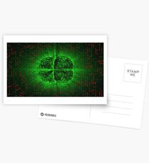 Green Glowing Brain Wired On Red Neural Surface Or Electronic Conductors Postcards