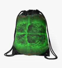 Green Glowing Brain Wired On Red Neural Surface Or Electronic Conductors Drawstring Bag