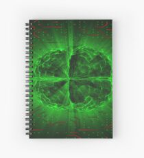Green Glowing Brain Wired On Red Neural Surface Or Electronic Conductors Spiral Notebook