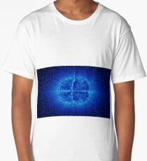Blue Glowing Brain Wired On Neural Surface Or Electronic Conductors Long T-Shirt